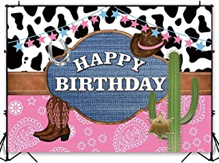 Funnytree 7x5ft Western Cowgirl Theme Party Backdrop for Birthday Pink Wild West Rodeo Photography Background Cow Cactus Bunting Rustic Wood Kids Party Decoration Cake Table Banner Photobooth