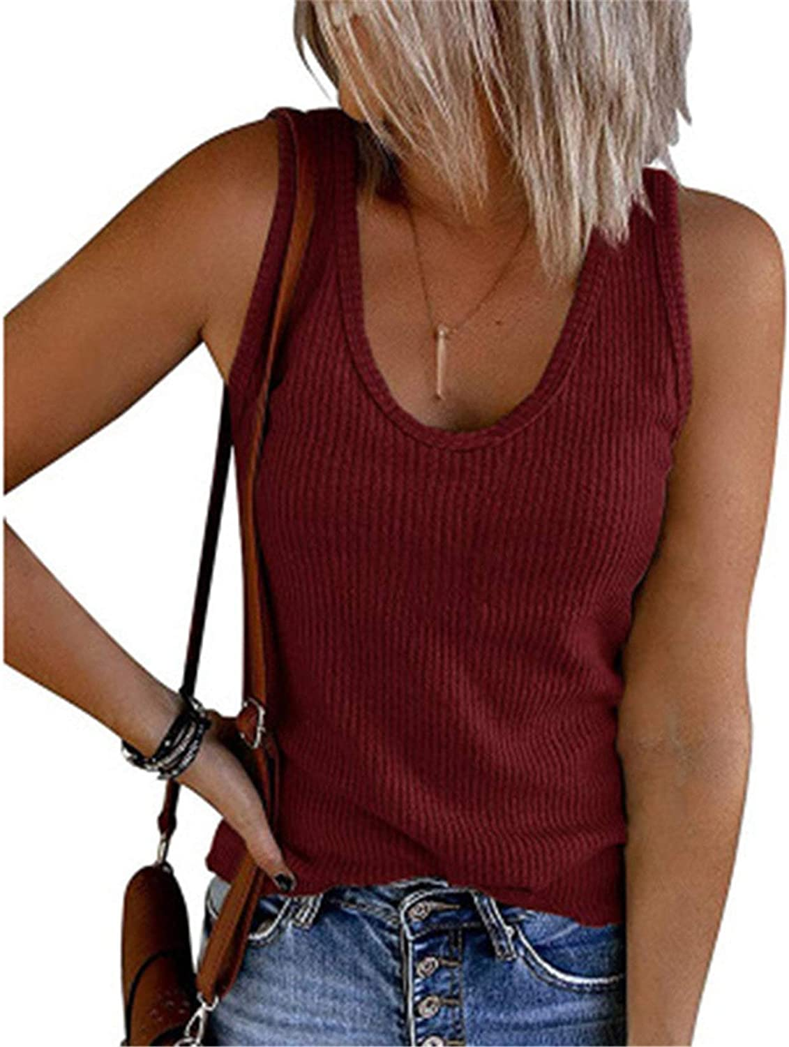 Womens V Neck Tank Tops Ribbed Sweater Vest Knit Sleeveless Casual Pullover Sweaters Shirts Blouse (Red Wine,Small)