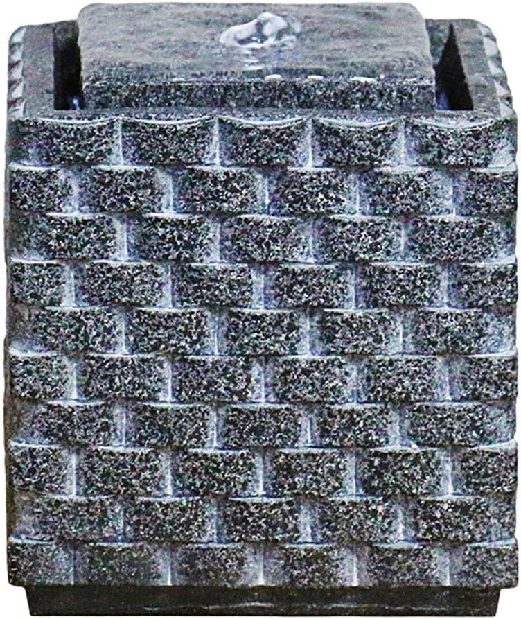 YIXIN2013SHOP Fuente de Agua Zen Interior/Exterior Tabla Cuadrado de la Fuente de la Roca Talla de Mesa Decoración Fuente de 5.5