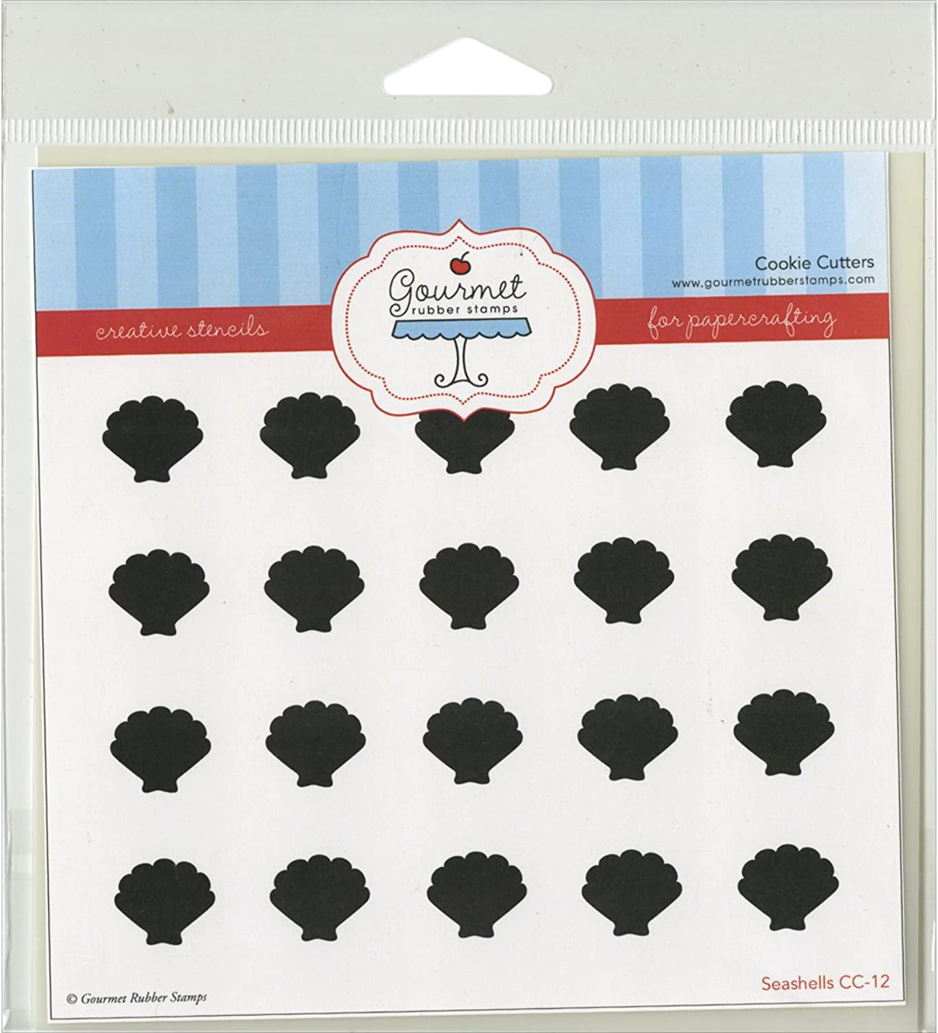 Gourmet Rubber Stamps Sea Shells Stencil, 6 x 6