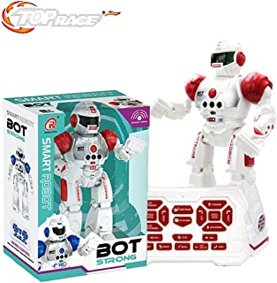 Top Race Remote Control Robot for Kids - RC Robots with LED Lights, Infrared Control Toys; Singing, Dancing, Speaking, Two Walking Modes, Senses Gesture, Red