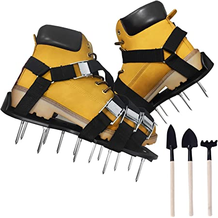 SING F LTD Pair of Black Lawn Care Garden Grass Lawn Aerator Spike Sandals Strap Shoes Garden Tools
