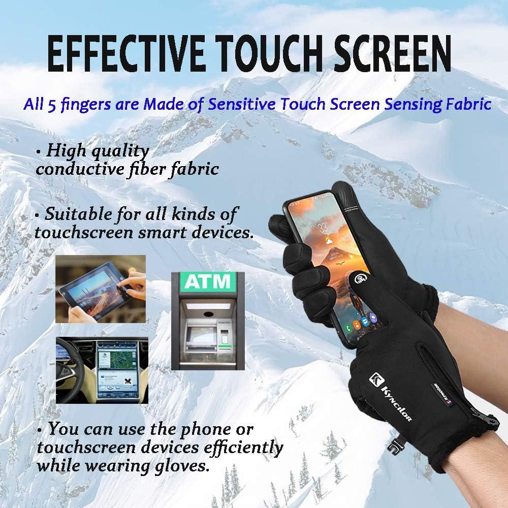 Kyncilor guanti invernali con funzione touch screen Guanti da sci da uomo e da donna impermeabili antiscivolo