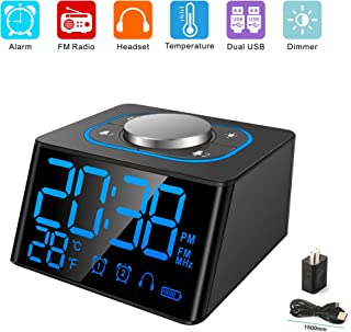 Aoyusen Small Alarm Clock Radio with FM Radio,Dual USB Charging Ports,Temperature Display,Dual Alarms with 27 Alarm Sounds,5 Level Brightness Dimmer,Headphone Jack,Bedrooms Sleep Timer