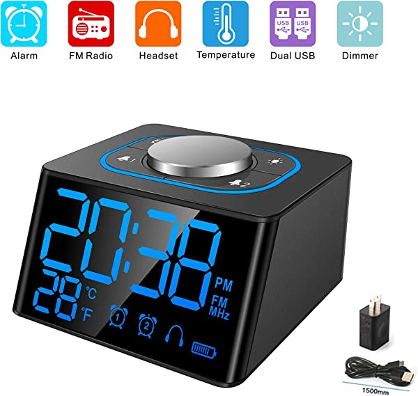 Aoyusen Small Alarm Clock Radio With FM Radio Dual USB Charging Ports Temperature Display Dual Alarms With 27 Alarm Sounds 5 Level Brightness Dimmer Headphone Jack Bedrooms Sleep Timer