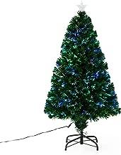 HOMCOM Pre-Lit Fibre Optic Artificial Christmas Tree Holiday Xmas Décor with Tree Topper Multi-Colour (4ft 120cm)