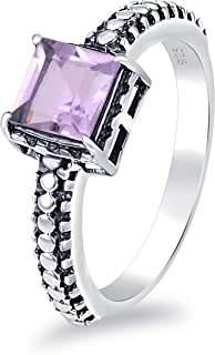 Orchid Jewelry 1.01 Ct Square Purple Amethyst, Red Garnet, Green Amethyst Nickel Free 925 Sterling Silver Solitaire Ring V...