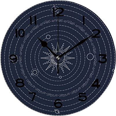 AmaUncle Round Wall Clock Solar System Model 10 inch Morden Wall Clocks Silent Round Decorative Clock SW87543