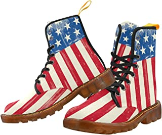 Artsadd Fashion Shoes American Flag Lace Up Boots for Women