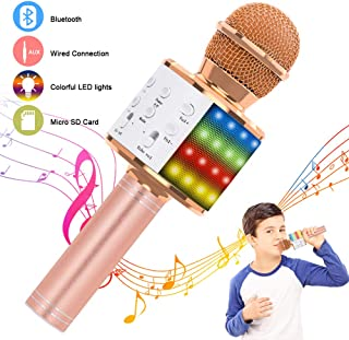 Verkstar Wireless Bluetooth 4 in 1 Karaoke Microphone, Portable Handheld Karaoke Machine Speaker Birthday Home Party Player with Record Function for Android & iOS All Devices (Rose Gold)