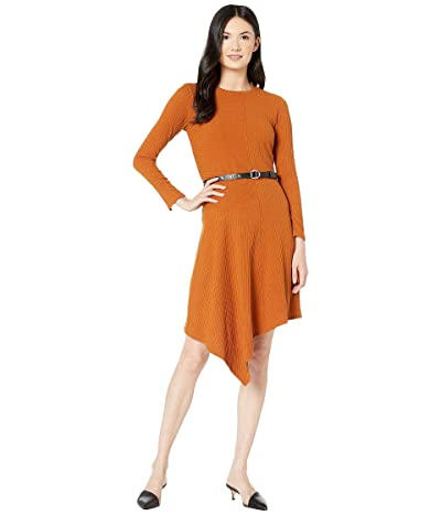 Sam Edelman Knit Asymmetrical Hem Dress (Caramel) Women