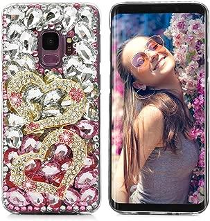 Mavis's Diary S9 Case, Full Edge Protective Plastic Case Luxury Design 3D Handmade Crystal Clear Bling Glitter Diamonds Colorful Rhinestone Hard PC Cover for Samsung Galaxy S9