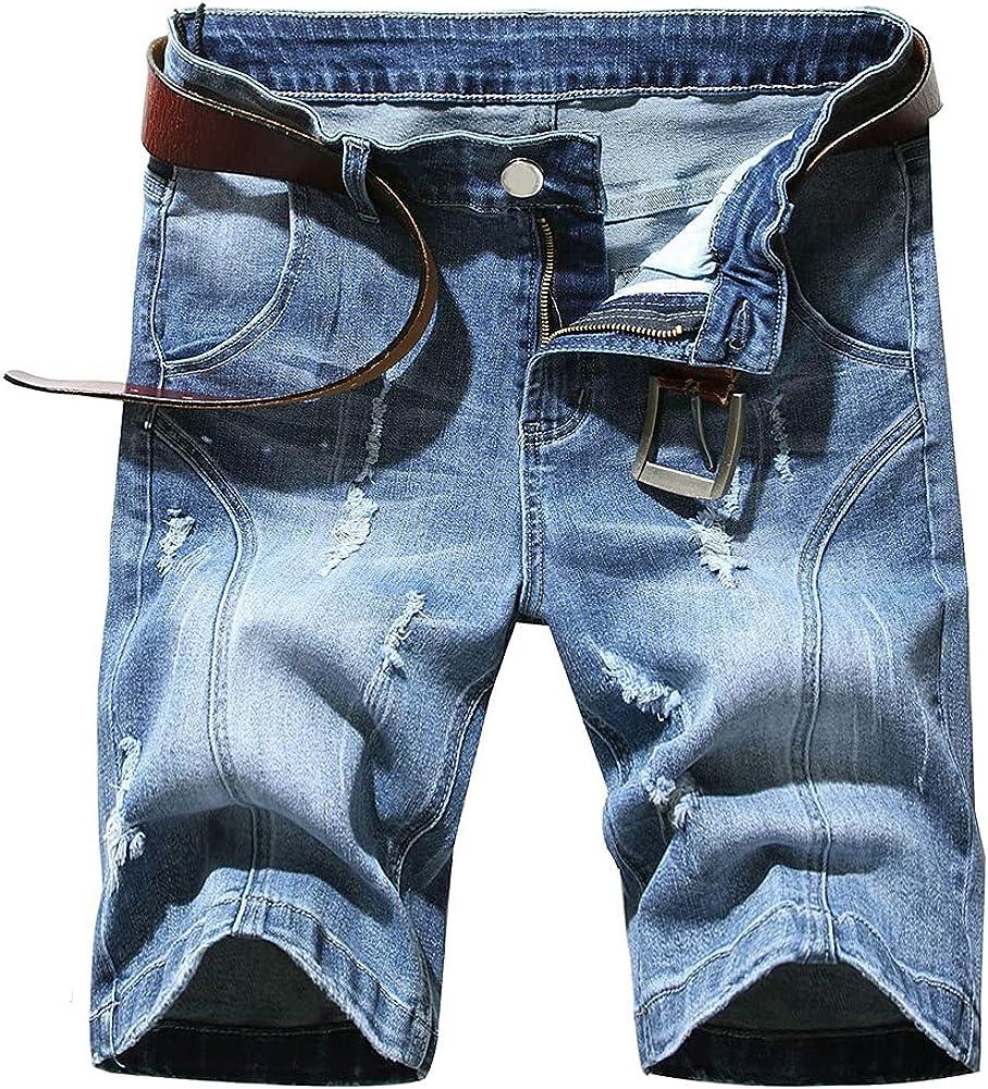 Boyland Mens Classic Ripped Hole Distressed Denim Shorts Regular Fit Moto Biker Jeans Shotrs