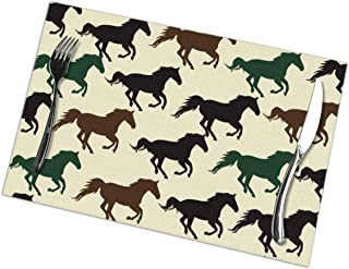 NiYoung Stain Resistant Placemat, Set of 6, Elegant Heat Insulation Tablemats, Kitchen Mats for Dining Table, Wild Horse Racing Bake Ware Mat, 12x18 inch