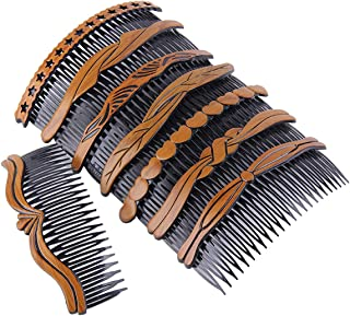 8Pcs Plastic Wood Grain Hollow Hair Side Combs Retro Hair Comb Pin Clips Headdress with Teeth for Lady Women Girls Hair Styling Accessories