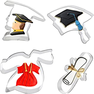 4pcs, Graduation Cookie Cutters, Diploma Cookie Cutter, Graduation Hat Cookie Cutter, Graduation Cap And Gown, Biscuit Cut...