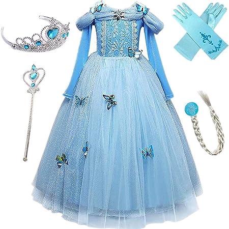 Eiskönigin Elsa Anna Belle Aurora Tüll Tutu Kleid Kinder Mädchen Karneval Kostüm