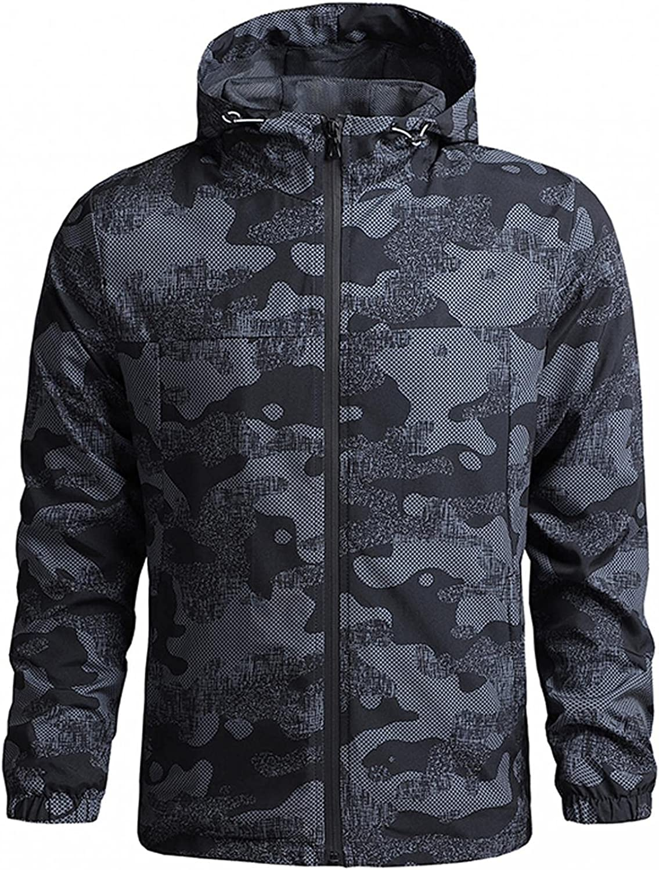 FUNEY Jacket for Max 68% OFF Men Lightweight Windbreaker Long Running Hoodie Large-scale sale
