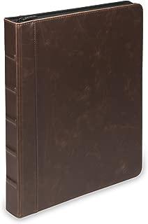 Vintage Hardback Book Style Round Ring Binder / Organizer / Planner, 1 Inch, Dark Brown (Zipper, Letter Size)