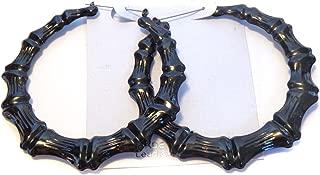 Large 4 Inch Hoop Earrings Full Black Bamboo Hoop Earrings Old School Hoops