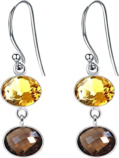 4 CT Jaune Citrine Poire Larme Design Dangle Boucles d/'oreilles or blanc argent