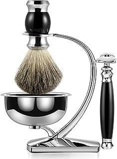 Ensemble de blaireau de luxe GRUTTI avec support de brosse de luxe et porte-pinceau pour bol à savon et ensembles de rasag...