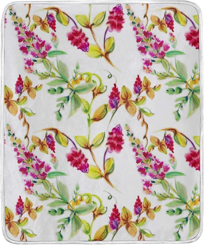 Vantaso Blankets Exotic Leaves Bright Flowers Throws Soft Kids Girls Boys 50x60 inch