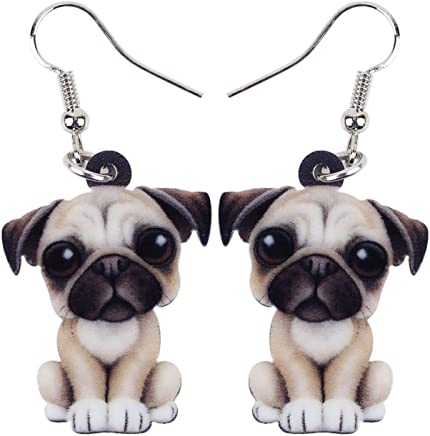ad7ba44e530 BONSNY Acrylic Sweet French Bull Pug Dog Earrings Drop Dangle Charms For  Women Kids Girls Gifts