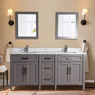 Vanity Art 72 Inch Double Sink Bathroom Vanity Set | Carrara Marble Stone Soft Closing Doors Undermount Rectangle Sinks with Free Two Mirror - VA2072-DG
