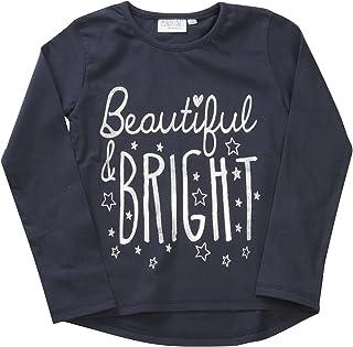 MiniKidz Girls Long Sleeved Round Neck Sparkle Top T-Shirt