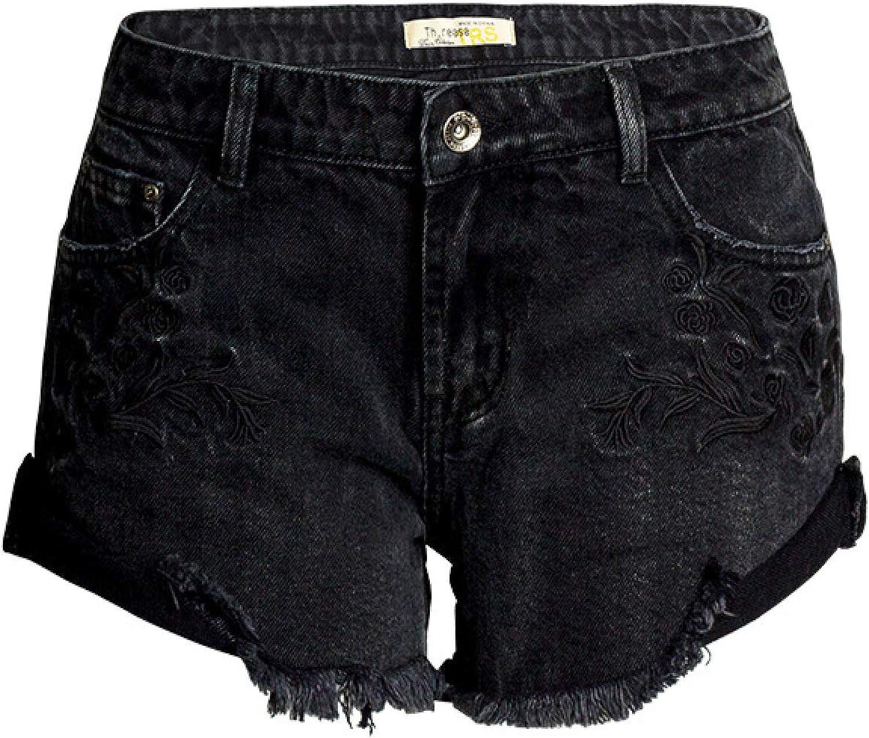 Women's Exquisite Embroidered Denim Shorts Double Pocket Zipper Placket Slim
