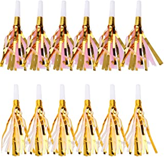 Birthday Party Noisemakers Blowers Whistle Fringed Noisemaker Musical Blow Outs for Kids, 12 pcs