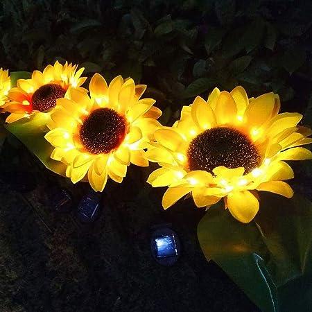 Nivalkid 1/2PC Solar Garden Stake Lights, Outdoor Solar Sunflower Lights LED Solar Powered Lights for Patio Lawn Garden Yard Pathway Backyard Decor Waterproof Yellow Outdoor Solar Garden Stake (A-2PC)