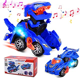 Villana Transforming Dinosaur Toys, Transforming Dinosaur Car with LED Light and Music Automatic Transform Dino Cars for 2+ Year Old Kids Christmas Birthday Gifts (Blue)