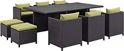 Modway Reversal Wicker Rattan 11-Piece Outdoor Patio Dining Furniture Set in Espresso Peridot