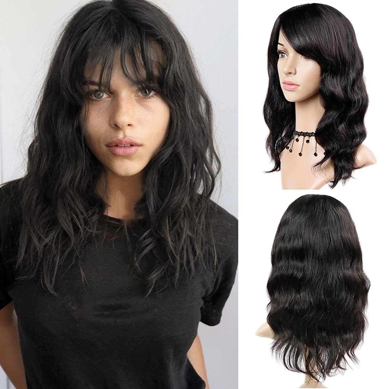 WIGNEE 100% Virgin Human Hair Natural Wave Wigs with Bangs Brazilian Human Hair Wave Wigs Natural Black Color (16