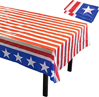 Disposable Table Covers - 3 Pack American Party Supplies Stars Stripes Flag in Red White Blue Plastic Tablecloths Patriotic Celebrations 54 x 108 inches