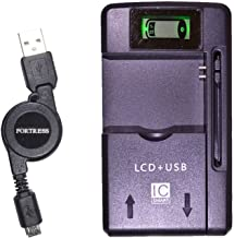 Emergency Battery Charger for Home, Office or Travel + Retractable Data/Charging Cable for LG 450 lg450 Alcatel A392G, BIG Button Flip, Kyocera Dura XV, LG 236C, Revere® 3 Samsung ConvoyTM 3, Gusto® 3