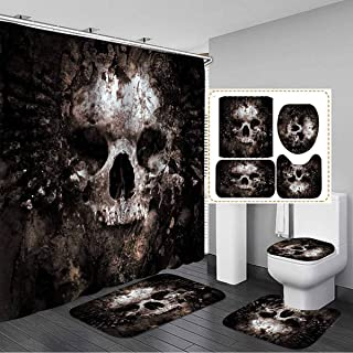 Psychedelic Halloween Shower Curtain Bath Curtains Rugs Toilet Seat Cover Set B8