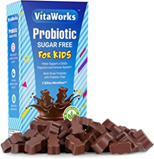 VitaWorks Sugar Free Probiotic 3 Billion Microflora for Kids Chocolate Vitamin Chew – GMO Free & Gluten Free – Great Tasti...