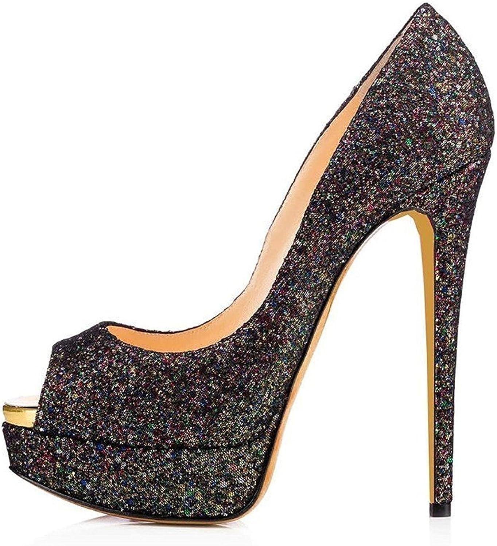 Nansay Woherrar skor Big Storlek Stiletto High klackar Sexiga Sexiga Sexiga Peep Toe Pumpar Anpassa Platform Bling Sandals  utlopp på nätet