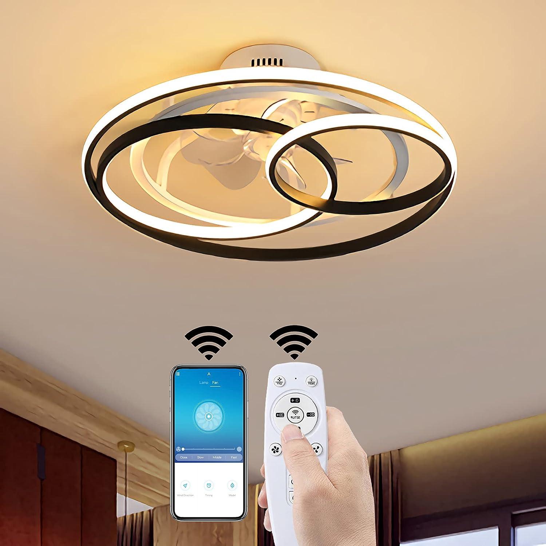 Moderno LED Ventilador de Techo con iluminación, 53CM Lámparas de Techo con Ventilador y Control Remoto Y App, 50W Regulable Luz del Ventilador por Sala de Estar Cuarto, 3000-6000K