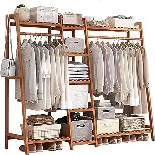 Portant Penderie à Vêtements en Bambou, 4 en 1 Porte-Manteaux avec 9 Etagères De Rangement 1 Crochets, pour Chambre à Couc...