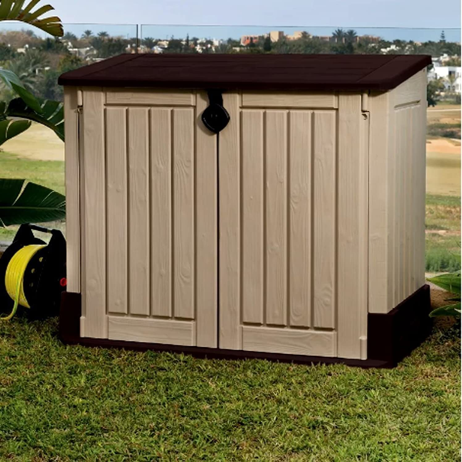 Garbage Can Shed for Outdoor Use, Contemporary Rustic MIDI Plastic 30-cubic feet Horizontal Garbage Shed