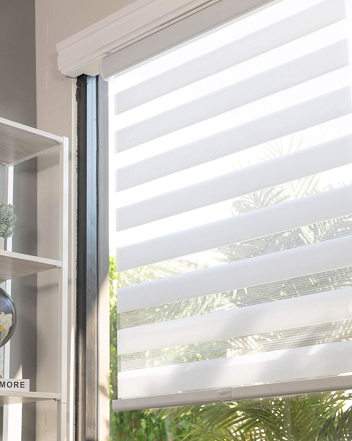 CHICOLOGY Everyday Cordless Zebra Shades, Light Filtering Dual Layer Window Blind Treatment Best for Kids & Perfect for Living Room/Bedroom/Kitchen and More, 58