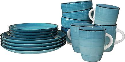 Raj RSSP29-BLUE 16 PCS IRIS STONEWARE DINNER SET-BLUE