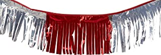 Worldwide Flags & PENNANTS 60 ft Double-Stitched RED/Silver Hurricane Metallic Fringe Pennant Long Lasting