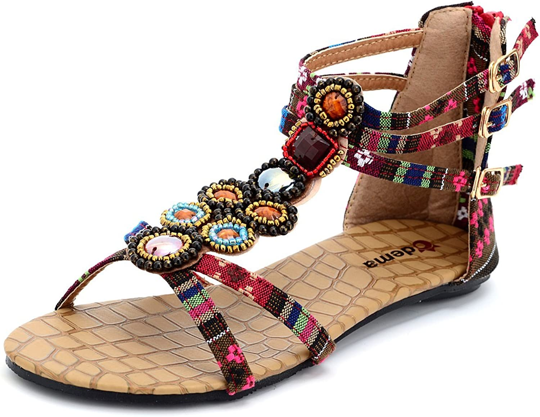 Odema Womens Flat Sandals Summer Bohemian Beaded Beach Thong Dressy Sandals