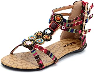 Womens Flat Sandals Bohemian Beads Coin Back Zip Thong Dressy Shoes