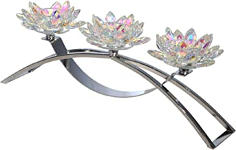 "Sagebrook Home 14827-03 METAL/GLASS 16"" 3 LOTUS CANDLE HOLDER, RAINBOW, L x 4.75"" W x 6"" H, Silver"